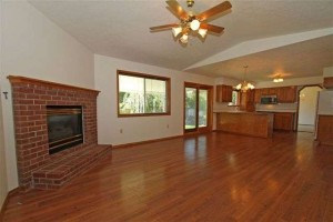 Gas Fireplace and Hardwood Floors